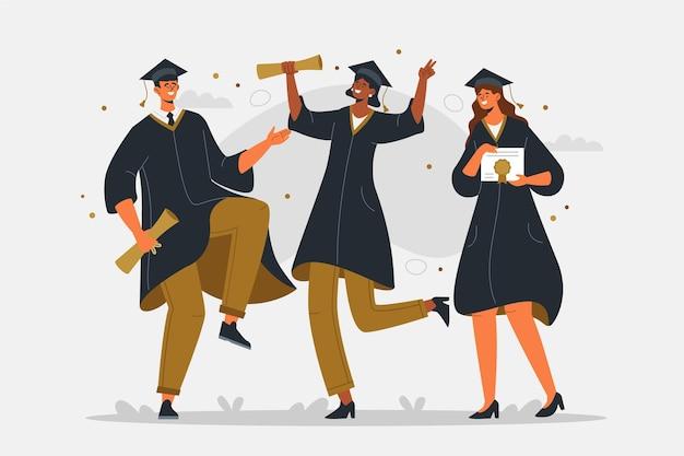 Ilustración de graduación plana orgánica
