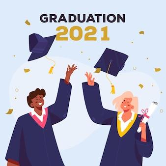 Ilustración de graduación plana