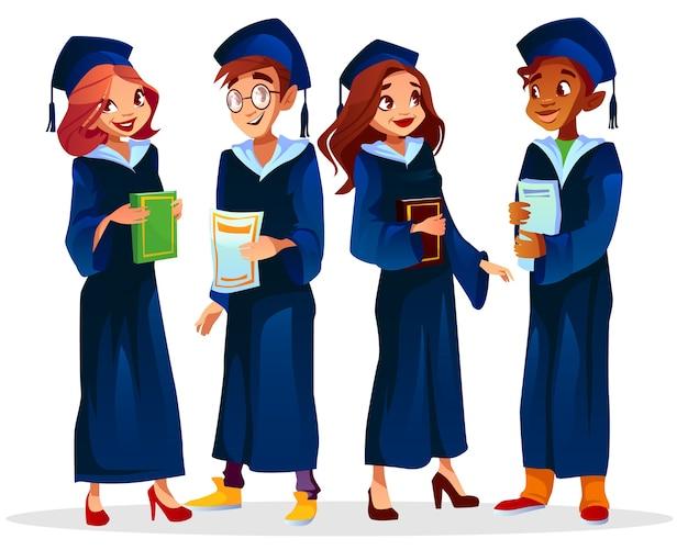 Ilustración de graduados de colegio o universidad de niño afroamericano en gafas y estudiantes de niñas