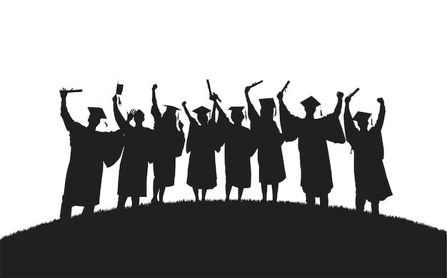 Ilustración de graduados universitarios