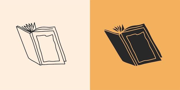 Ilustración gráfica abstracta con conjunto de elementos de logotipo, dibujo lineal de libro y silueta