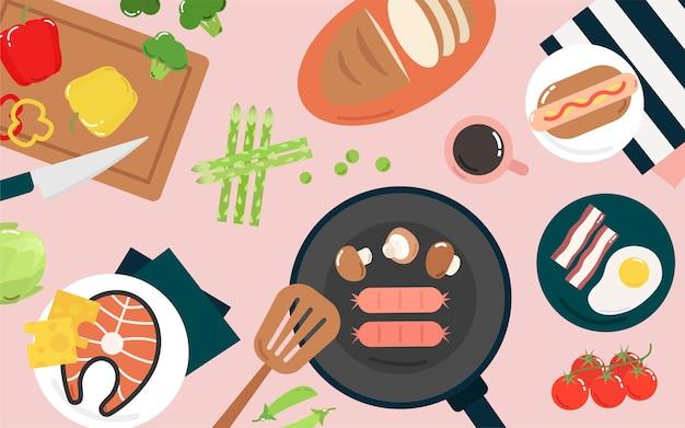 Ilustración gráfica de alimentos y cocina