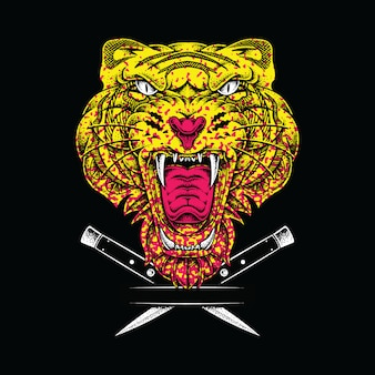 Ilustración gráfica animal tigre