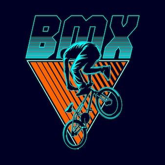 Ilustración gráfica de bmx freestyle
