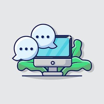 Ilustración gráfica de la burbuja de comunicación y el icono del monitor