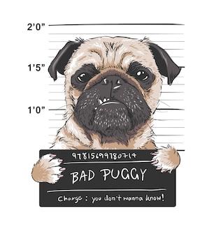 Ilustración gráfica de enojado perro pug prisionero