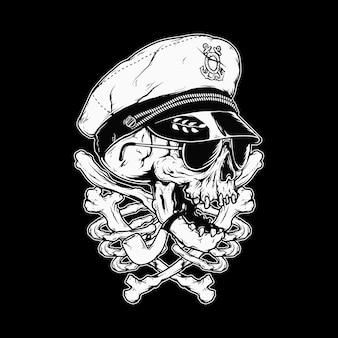 Ilustración gráfica de horror de huesos de capitán de cráneo