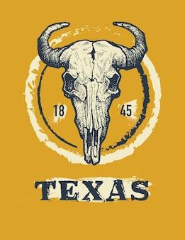 Ilustración gráfica de impresión de camiseta de búfalo de texas