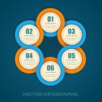 Ilustración gráfica de información de banner numerado redondo