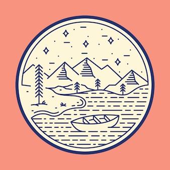 Ilustración gráfica del lago naturaleza salvaje insignia parche pin