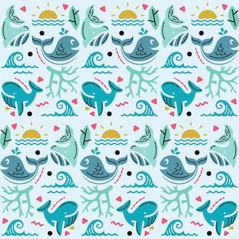 Ilustración gráfica de patrones sin fisuras con decoración de mar y ballena