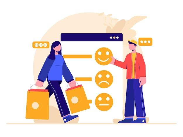 Ilustración gráfica de personas que brindan comentarios positivos a las aplicaciones de la tienda móvil