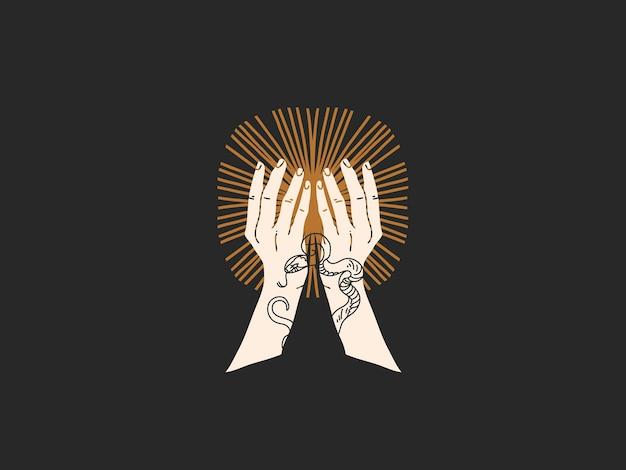 Ilustración gráfica plana dibujada a mano con elementos del logotipo, mano humana sosteniendo el sol, arte lineal mágico en estilo simple