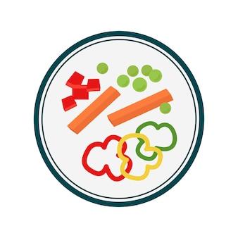 Ilustración gráfica de plato de verduras