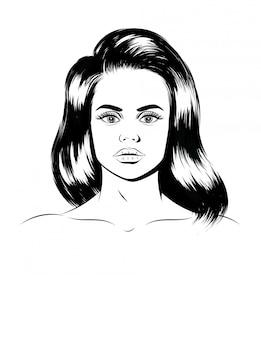 Ilustración gráfica de un retrato femenino. cara de una hermosa niña aislada. dibujado a mano silueta de la cara de una mujer joven