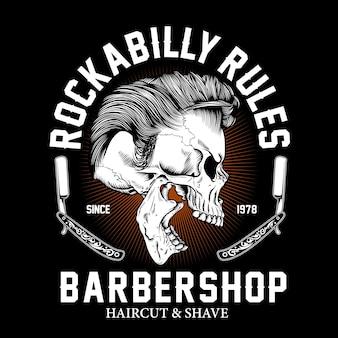 Ilustración gráfica de rockabilly barbershop