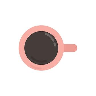 Ilustración gráfica de la taza de café rosa