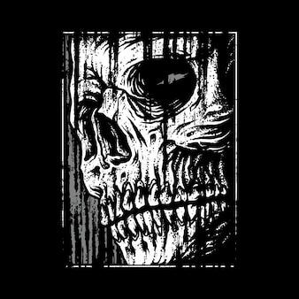 Ilustración gráfica de terror de cráneo