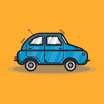 Ilustración gráfica de transporte en coche hatchback