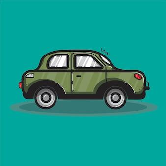Ilustración gráfica del transporte del coche sedán