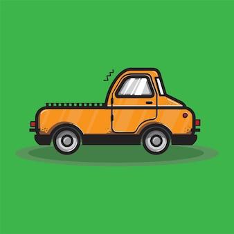 Ilustración gráfica de transporte naranja camión