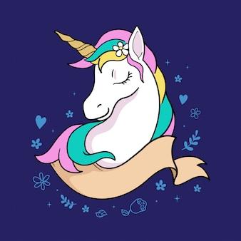 Ilustración gráfica de unicornio