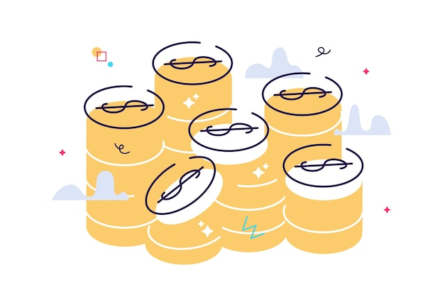Ilustración gráfica de vector de pila de monedas de oro. moneda apilada aislado sobre fondo blanco.