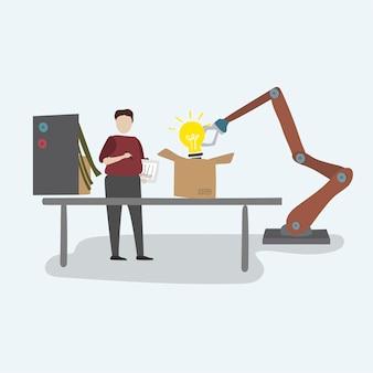 Ilustración del gráfico de vector de robot de logística