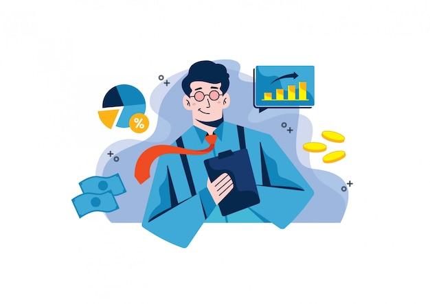 Ilustración de gráficos y estadísticas de análisis