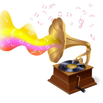 Ilustración de gramófono de música