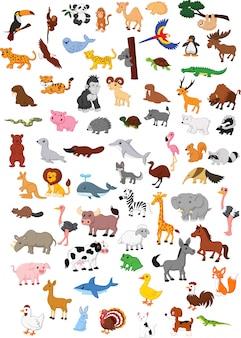 Ilustración de gran conjunto de dibujos animados de animales
