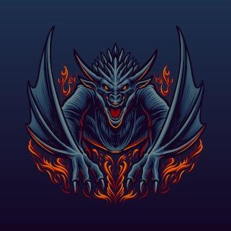 La ilustración del gran dragón rojo.