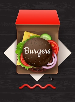 Ilustración de gran hamburguesa con queso con pan negro y sésamo en caja de cartón roja, vista superior en mesa de madera con salsa de tomate y servilleta.
