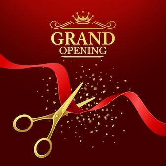 Ilustración de gran inauguración con cinta roja y tijeras doradas