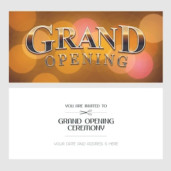 Ilustración de gran inauguración, fondo, tarjeta de invitación. banner de plantilla, invitación para ceremonia de apertura con cartel dorado