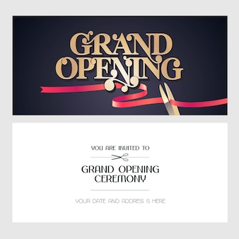 Ilustración de gran inauguración, fondo, tarjeta de invitación. banner de plantilla, invitación para evento de apertura