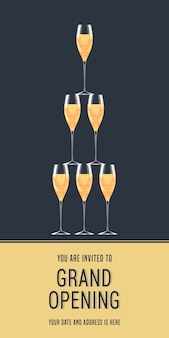 Ilustración de gran inauguración, fondo, tarjeta de invitación. invitación de plantilla con copas de champán a la ceremonia de corte de cinta roja con cuerpo