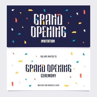Ilustración de gran inauguración, fondo, tarjeta de invitación. plantilla de invitación a la ceremonia de apertura con bodycopy