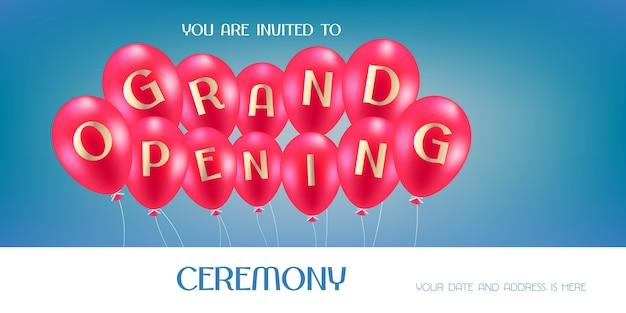 Ilustración de gran inauguración, fondo, tarjeta de invitación. plantilla de invitación a la ceremonia de apertura