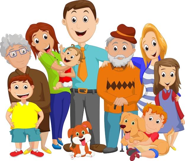Ilustración de un gran retrato de familia