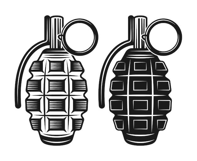 Ilustración de granada negra en estilo vintage