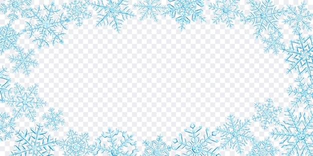 Ilustración de grandes copos de nieve de navidad translúcidos complejos en colores azul claro, ubicados alrededor, aislado sobre fondo transparente. transparencia solo en formato vectorial