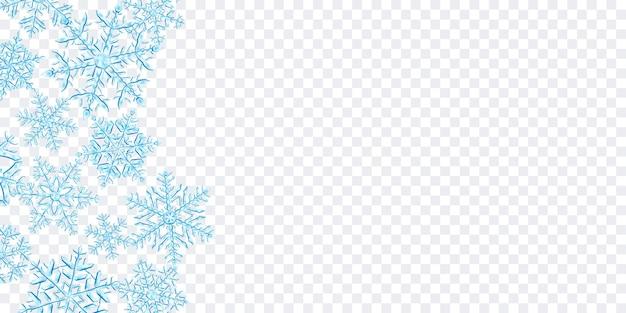 Ilustración de grandes copos de nieve de navidad translúcidos complejos en colores azul claro, ubicados a la izquierda, aislados en fondo transparente. transparencia solo en formato vectorial