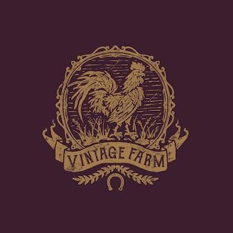 Ilustración de granja gallo dibujado a mano vintage