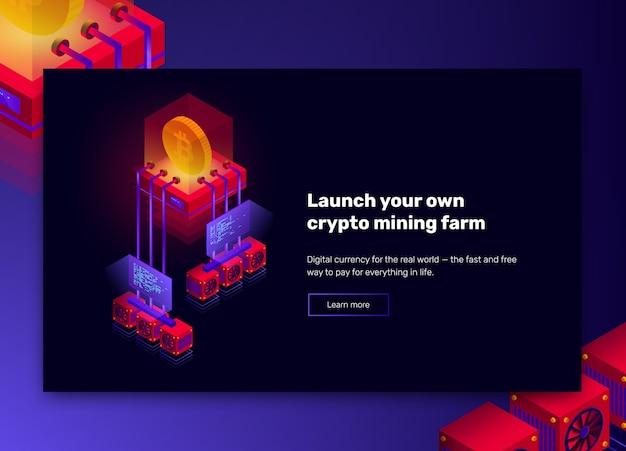 Ilustración de la granja minera de criptomonedas, procesamiento de big data para bitcoin, concepto isométrico de blockchain, banner de presentación en colores violeta y rojo