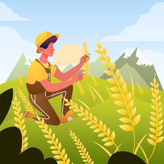 Ilustración de granjero en campo