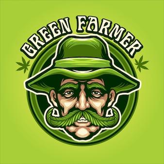 Ilustración de granjero verde