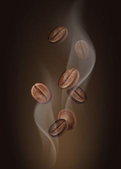 Ilustración de granos de café aromáticos en primer plano de vapor caliente sobre fondo marrón