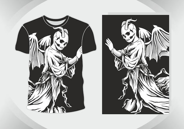 Ilustración de grim reaper o demon para diseño de camiseta