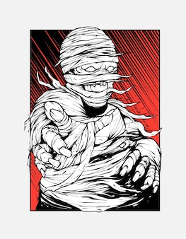 Ilustración de grito de momia para diseño de camiseta